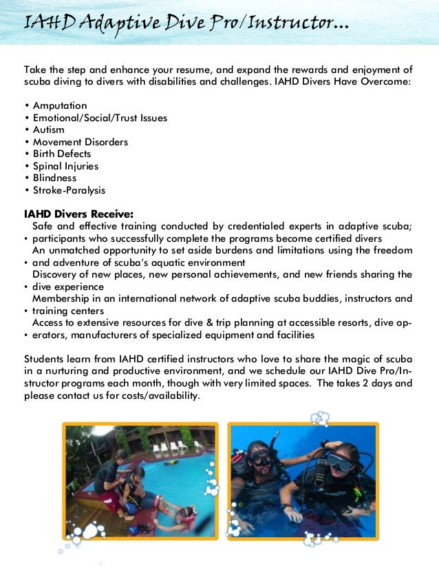 Dive instructor resume