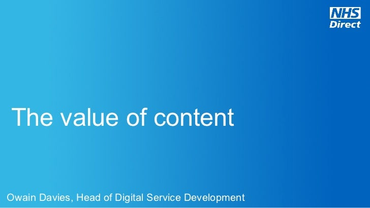 Affiliate Marketing Theatre; The value of content: healthcare example
