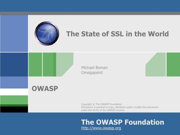 The State of SSL in the World Michael Boman Omegapoint