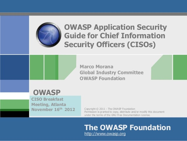 OWASP Application Security             Guide for Chief Information             Security Officers (CISOs)                  ...
