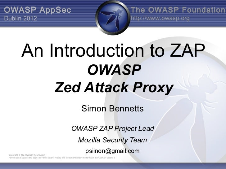 OWASP 2012 AppSec Dublin ZAP Intro