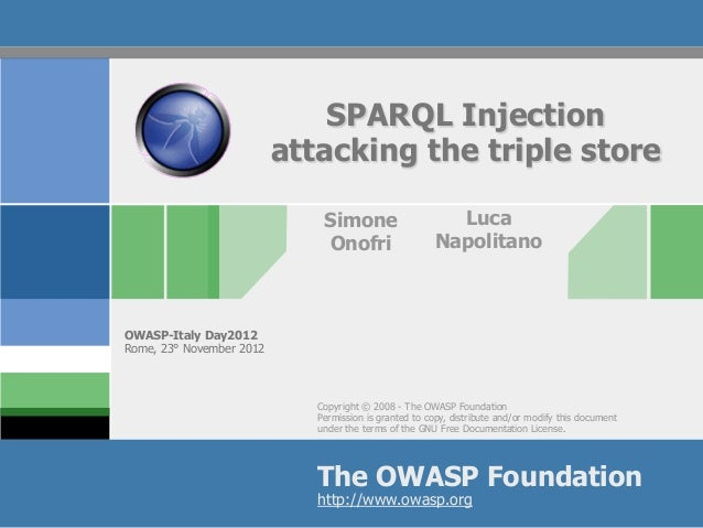 Owasp italy day sparql injection attacking triple store semantic web application security sql injection