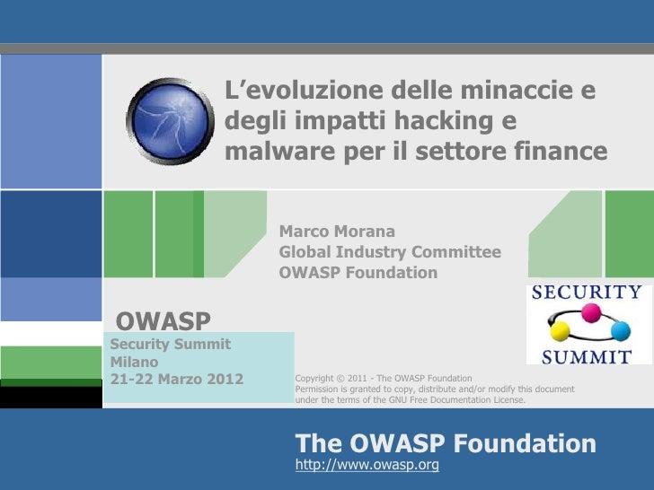 L'evoluzione delle minaccie e             degli impatti hacking e             malware per il settore finance              ...