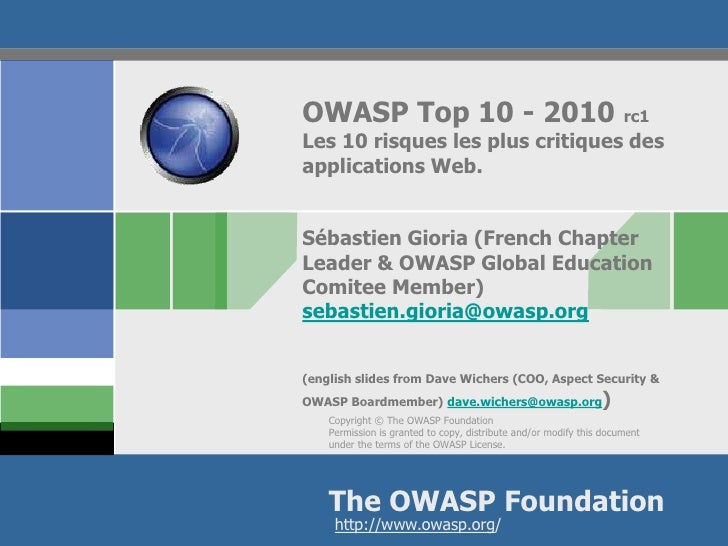 OWASP Top 10 - 2010                                                  rc1 Les 10 risques les plus critiques des application...