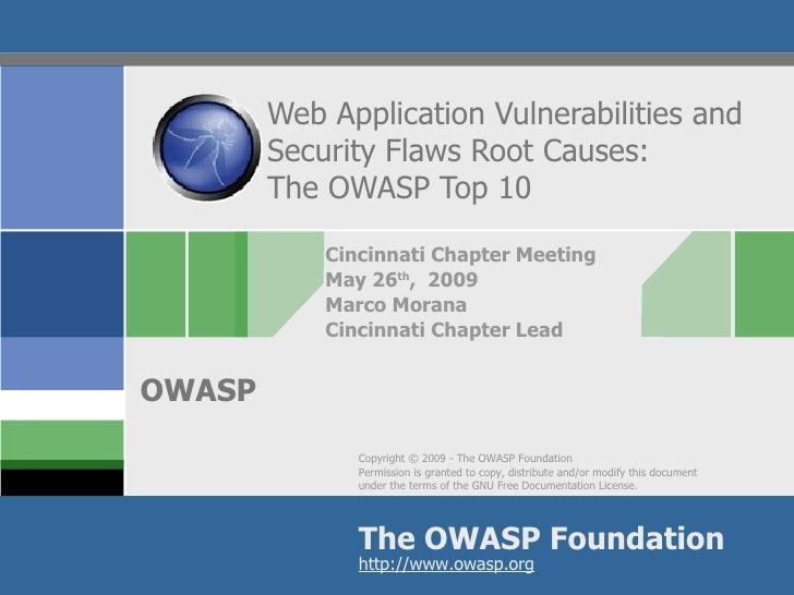 Web Application Vulnerabilities and Security Flaws Root Causes: The OWASP Top 10 Cincinnati Chapter Meeting May 26 th ,  2...