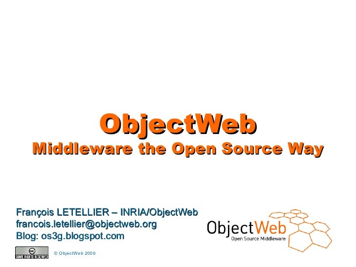 ObjectWeb        Middleware the Open Source Way   François LETELLIER – INRIA/ObjectWeb francois.letellier@objectweb.org Bl...