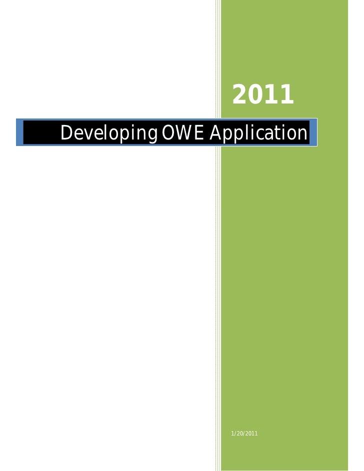 2011Developing OWE Application                 1/20/2011