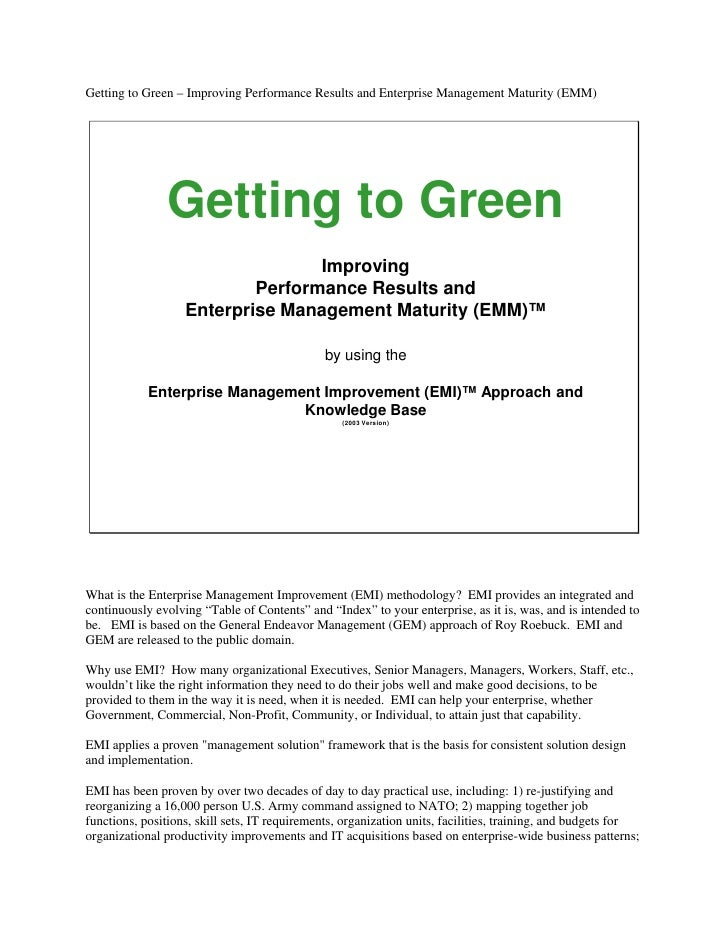 GEM And EMM - Getting To Green