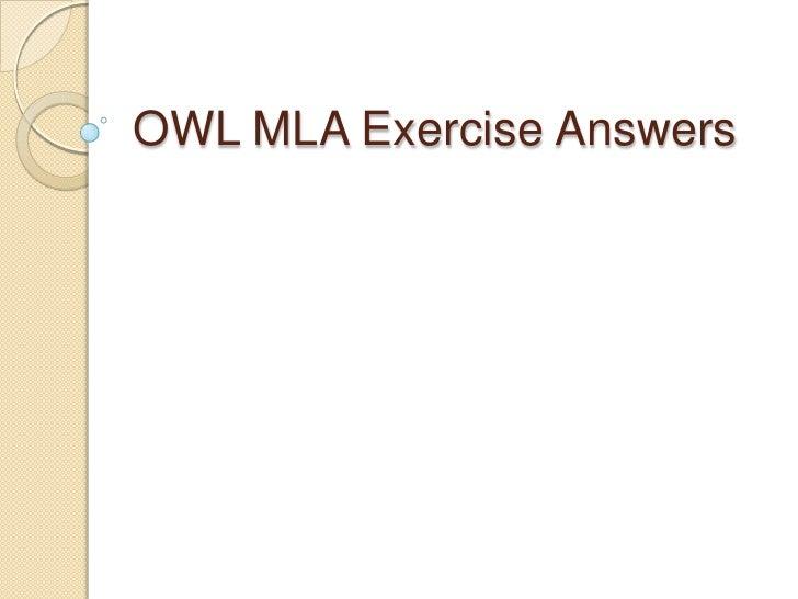Owl Mla Exercise Answers