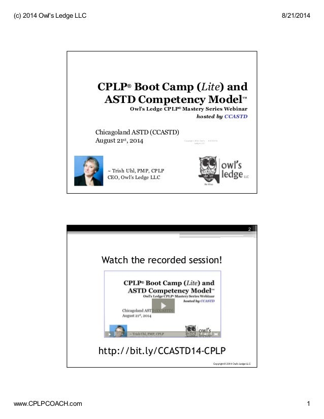 Certified Professional in Learning & Performance (CPLP) 2014 Boot Camp Lite | Owl's Ledge