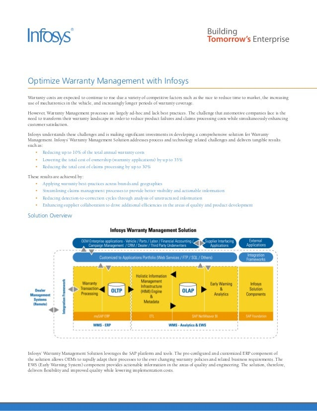 Infosys –Warranty Management Automotive   Early Warning System