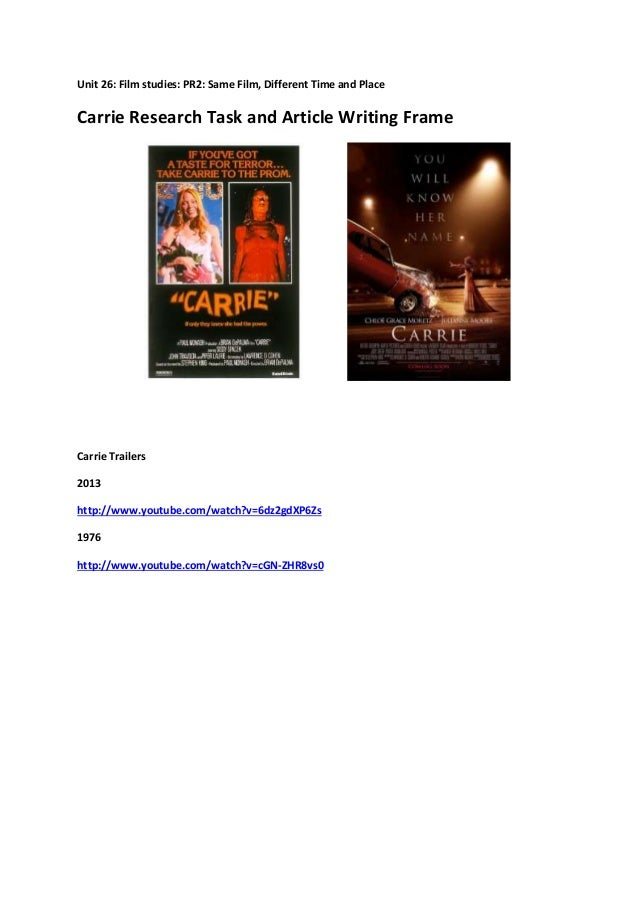 Unit 26: Film studies: PR2: Same Film, Different Time and Place Carrie Research Task and Article Writing Frame Carrie Trai...
