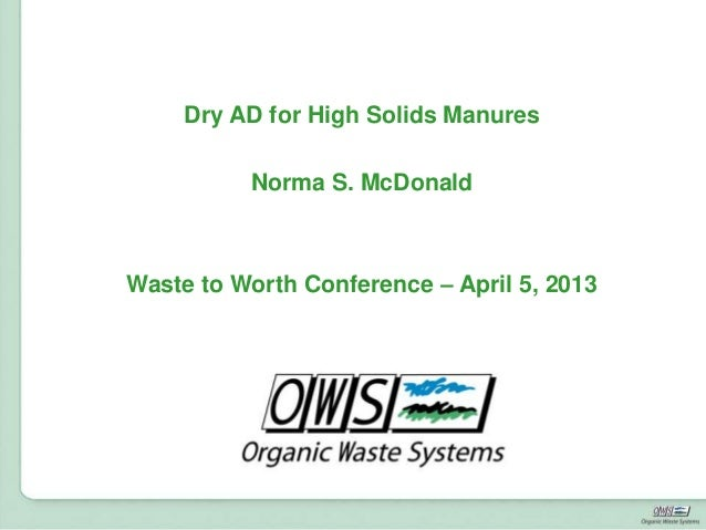 FußzeileDry AD for High Solids ManuresNorma S. McDonaldWaste to Worth Conference – April 5, 2013