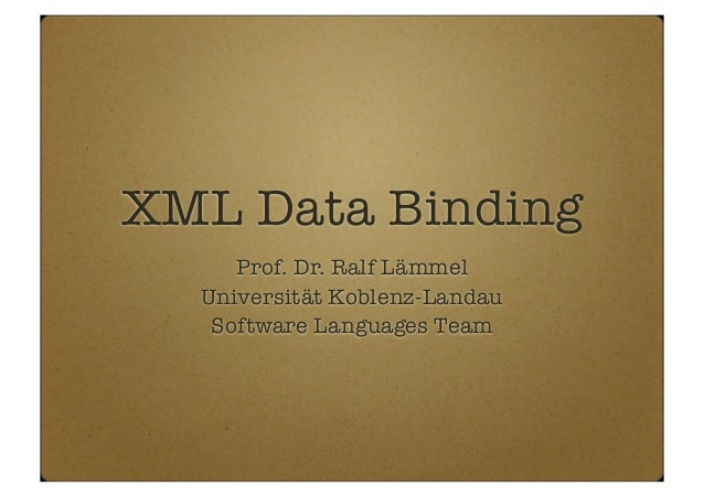 XML data binding