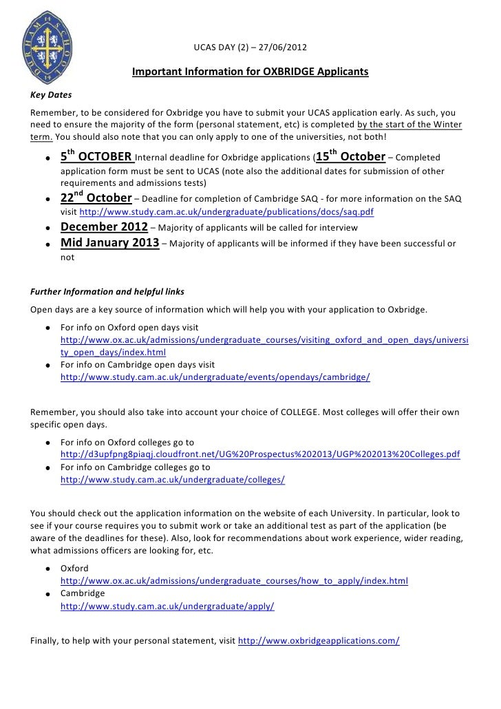 UCAS DAY (2) – 27/06/2012                        Important Information for OXBRIDGE ApplicantsKey DatesRemember, to be con...