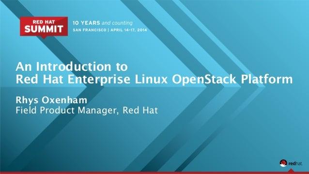 An Introduction to Red Hat Enterprise Linux OpenStack Platform