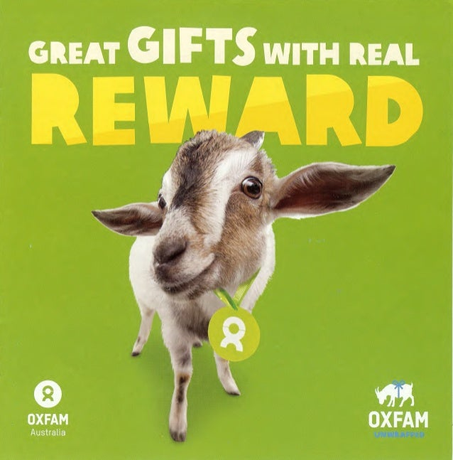 Oxfam great gifts with real rewards unwrapped catalogue