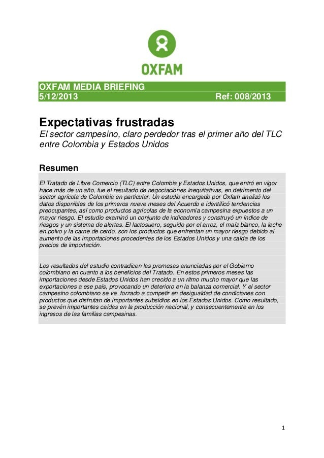 Oxfam media brief,Expectativas Frustradas