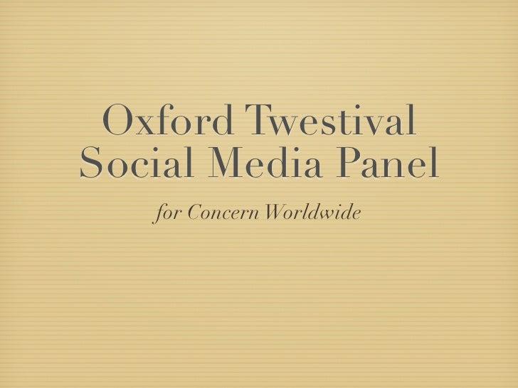 Oxford Twestival Social Media Panel    for Concern Worldwide