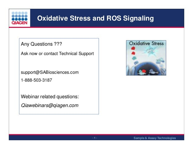 Oxidative Stress and ROS Signaling  Any Questions ??? Ask now or contact Technical Support  support@SABiosciences.com 1-88...