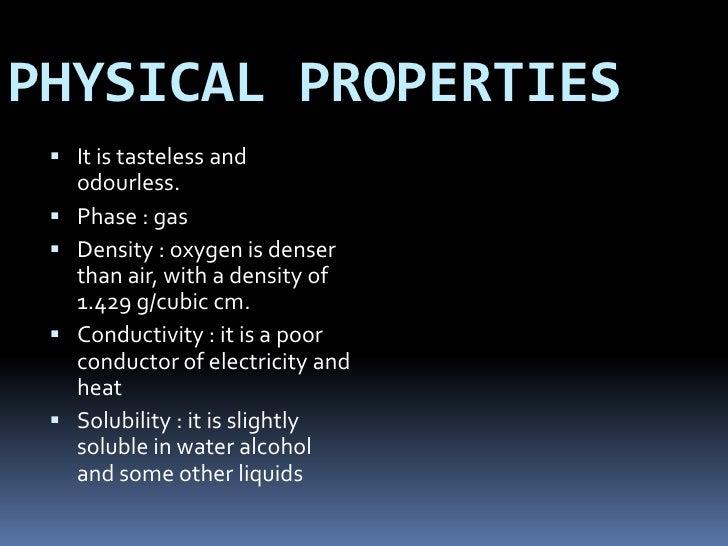 Liquid Oxygen Physical Properties