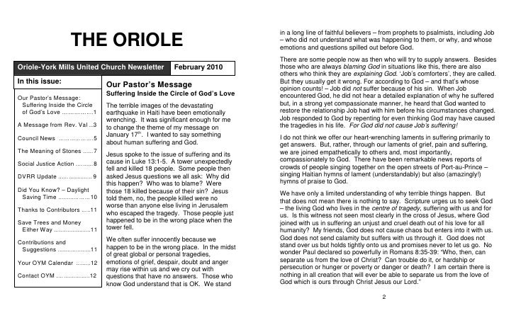 THE ORIOLE Oriole-York Mills United Church Newsletter                February 2010 In this issue:                         ...