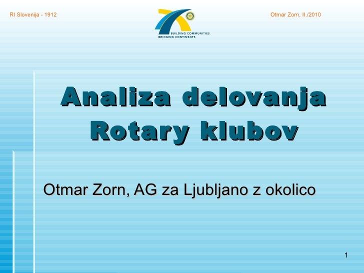 Analiza delovanja Rotary klubov Otmar Zorn, AG za Ljubljano z okolico RI Slovenija - 1912 Otmar Zorn, II./2010