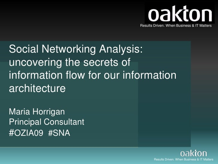Social Networking Analysis: uncovering the secrets of information flow for our information architecture Maria Horrigan Pri...