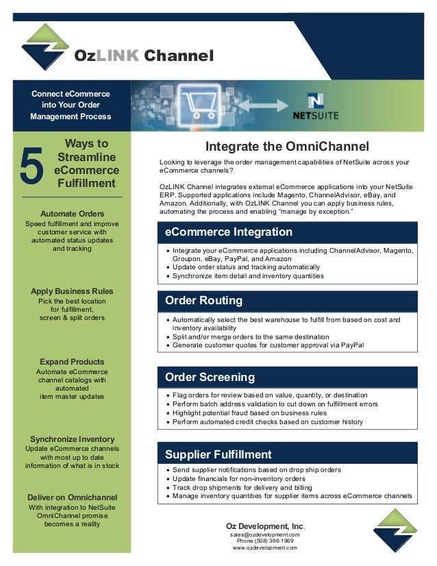 OzLINK Channel for Netsuite