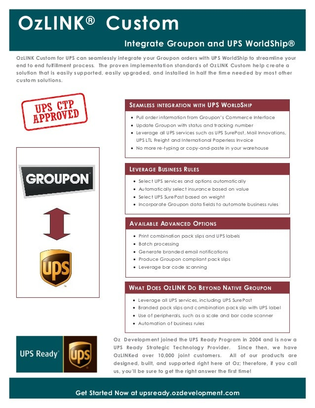 OzLINK®Oz Development joined the UPS Ready Program in 2004 and is now aUPS Ready Strategic Technology Provider. Since then...