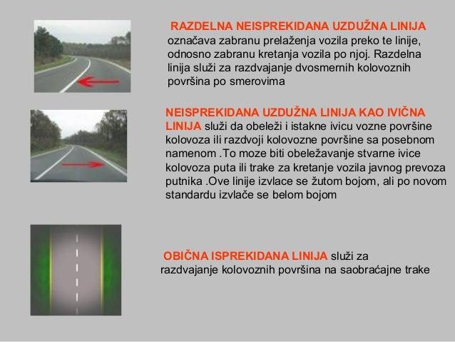 RAZDELNANEISPREKIDANAUZDUŽNALINIJA označava zabranu prelaženja vozila preko te linije, odnosno zabranu kretanja vozil...