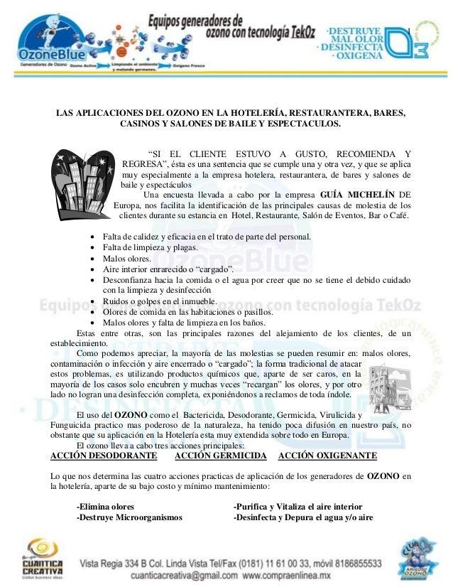 1 LAS APLICACIONES DEL OZONO EN LA HOTELERÍA, RESTAURANTERA, BARES,             CASINOS Y SALONES DE BAILE Y ESPECTACULOS....