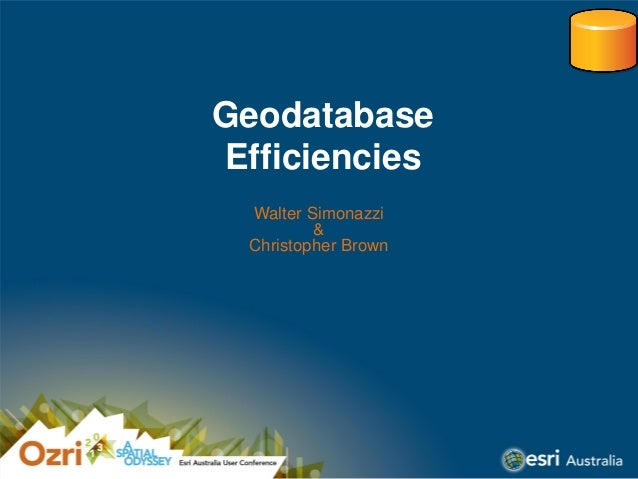 Geodatabase Efficiencies Walter Simonazzi & Christopher Brown