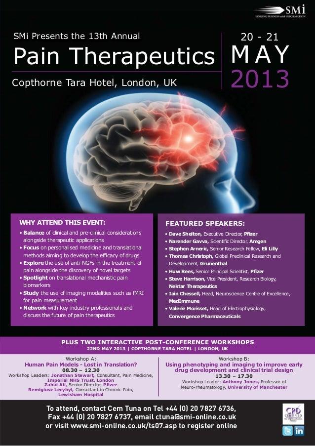 SMi Presents the 13th Annual                                                                       20 - 21 Pain Therapeuti...