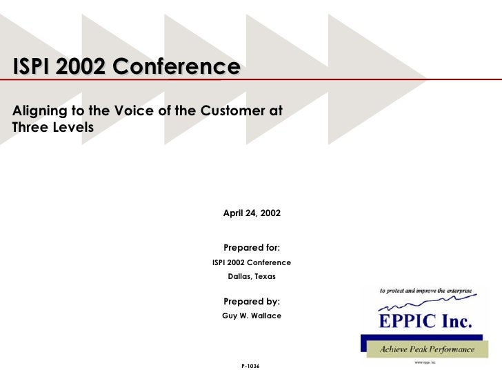 April 24, 2002 Prepared for: ISPI 2002 Conference Dallas, Texas Prepared by: Guy W. Wallace ISPI 2002 Conference Aligning ...