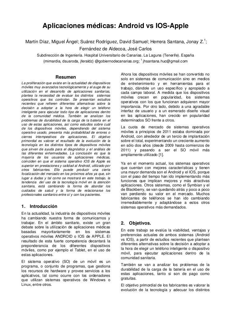 Aplicaciones médicas: Android vs IOS-Apple  Martín Díaz, Miguel Ángel; Suárez Rodríguez, David Samuel; Herrera Santana, Jo...