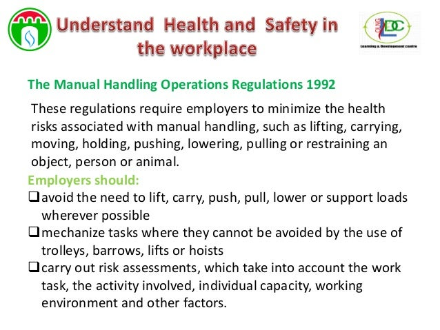 health and safety manual handling operations regulations 1992