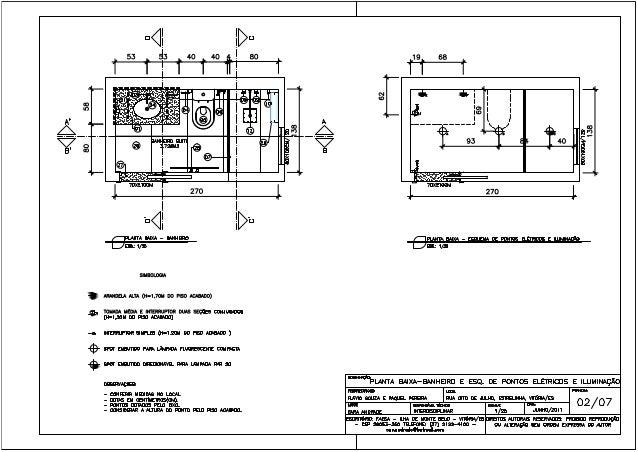 planta baixa - banheiro e esquema de pontos elétricos e iluminação 02/07