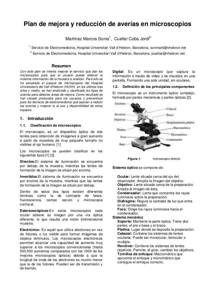 Plan de mejora y reducción de averías en microscopios                                Martínez Marcos Sonia1, Cuellar Coba ...