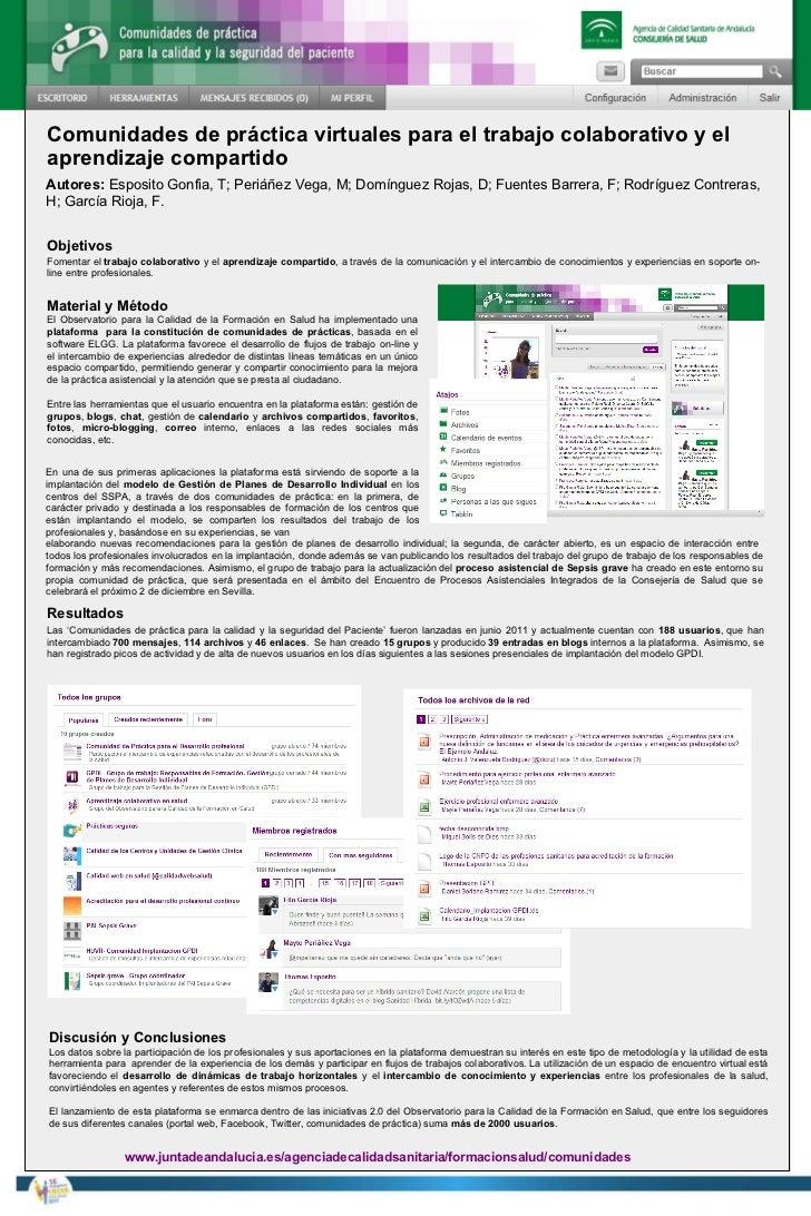 Comunidades de práctica virtuales para el trabajo colaborativo y el aprendizaje compartido Objetivos Fomentar el  trabajo ...