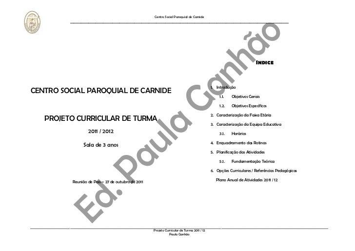 P. Curricular de Turma 2011 / 12