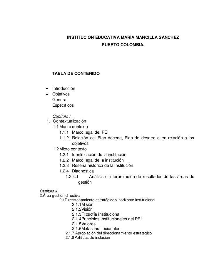 INSTITUCIÓN EDUCATIVA MARÍA MANCILLA SÁNCHEZ                                     PUERTO COLOMBIA.       TABLA DE CONTENIDO...
