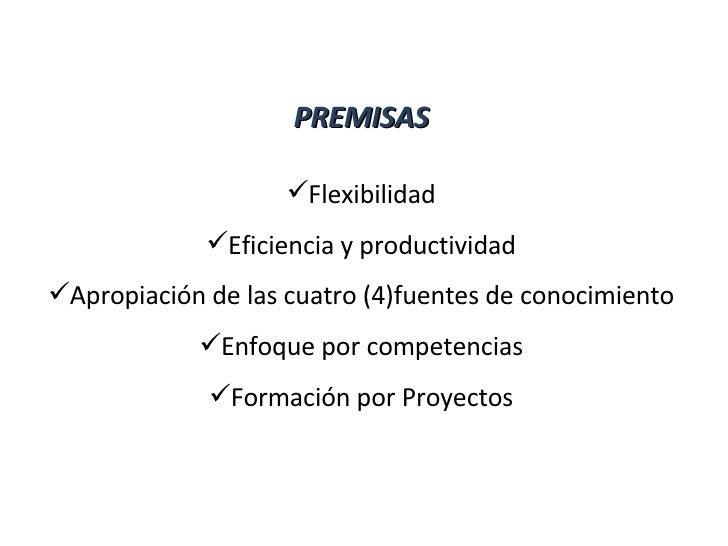 <ul><li>PREMISAS </li></ul><ul><li>Flexibilidad </li></ul><ul><li>Eficiencia y productividad </li></ul><ul><li>Apropiación...