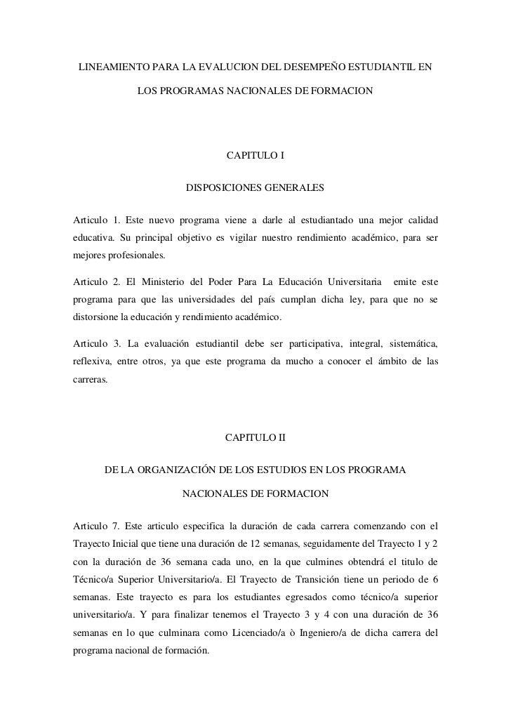 LINEAMIENTO PARA LA EVALUCION DEL DESEMPEÑO ESTUDIANTIL EN               LOS PROGRAMAS NACIONALES DE FORMACION            ...