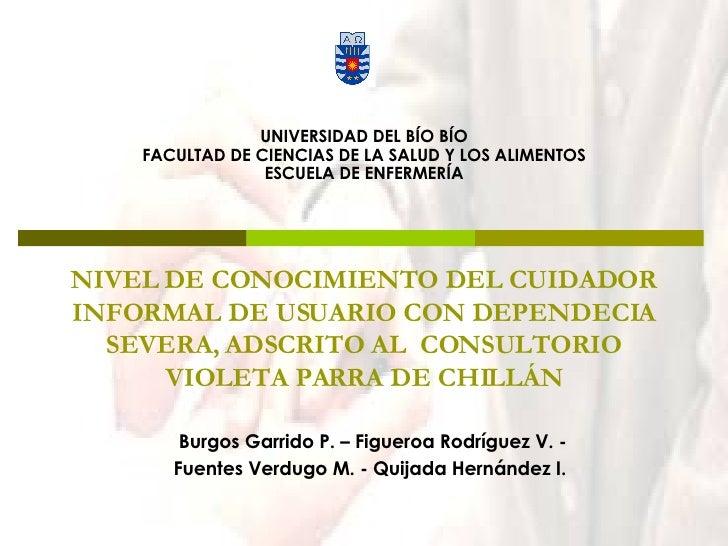 NIVEL DE CONOCIMIENTO DEL CUIDADOR INFORMAL DE USUARIO CON DEPENDECIA SEVERA, ADSCRITO AL  CONSULTORIO VIOLETA PARRA DE CH...