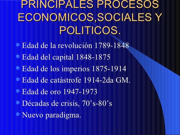 PRINCIPALES PROCESOS ECONOMICOS,SOCIALES Y POLITICOS. Edad de la