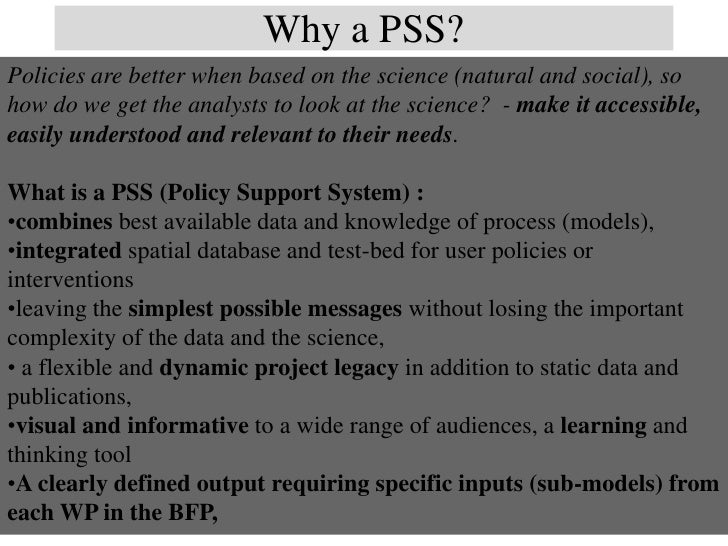 Why a Policy Support System? Examples from the Andes BFP