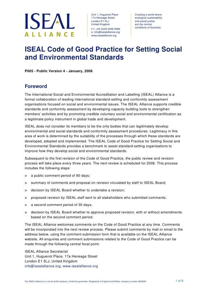 P005 Iseal Code Of Good Practice Doc