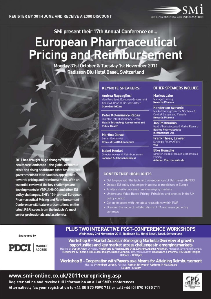European Pharmaceutical Pricing and Reimbursement conference