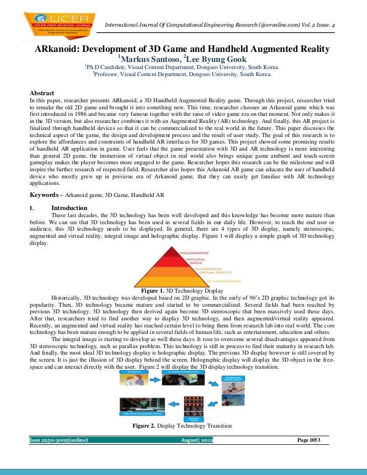 International Journal Of Computational Engineering Research (ijceronline.com) Vol. 2 Issue. 4     ARkanoid: Development of...